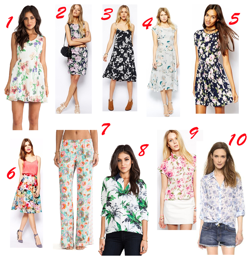 1 - BB Dakota, 2 - Reclaimed Vintage, 3 - ASOS, 4 - Love, 5 - ASOS, 6 - ASOS, 7 - Ella Moss, 8 - Tigerlily, 9 - Equipment, 10 - KEEPSAKE
