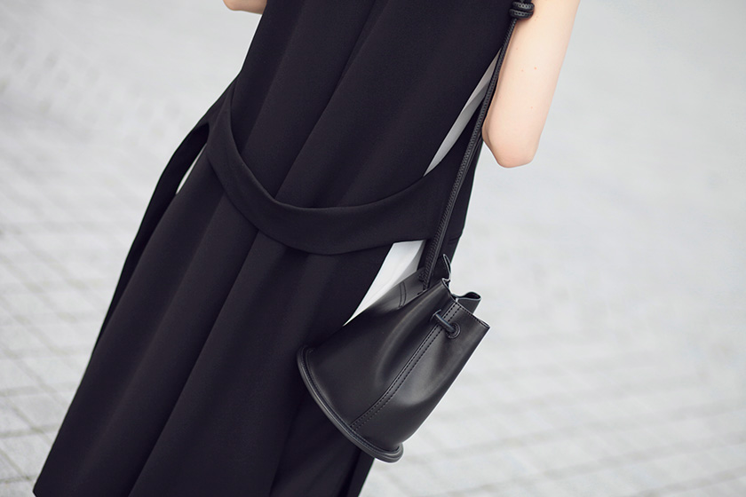 Sonya-Karamazova-long-vest-Zara-charles-and-keith-bucket-bag