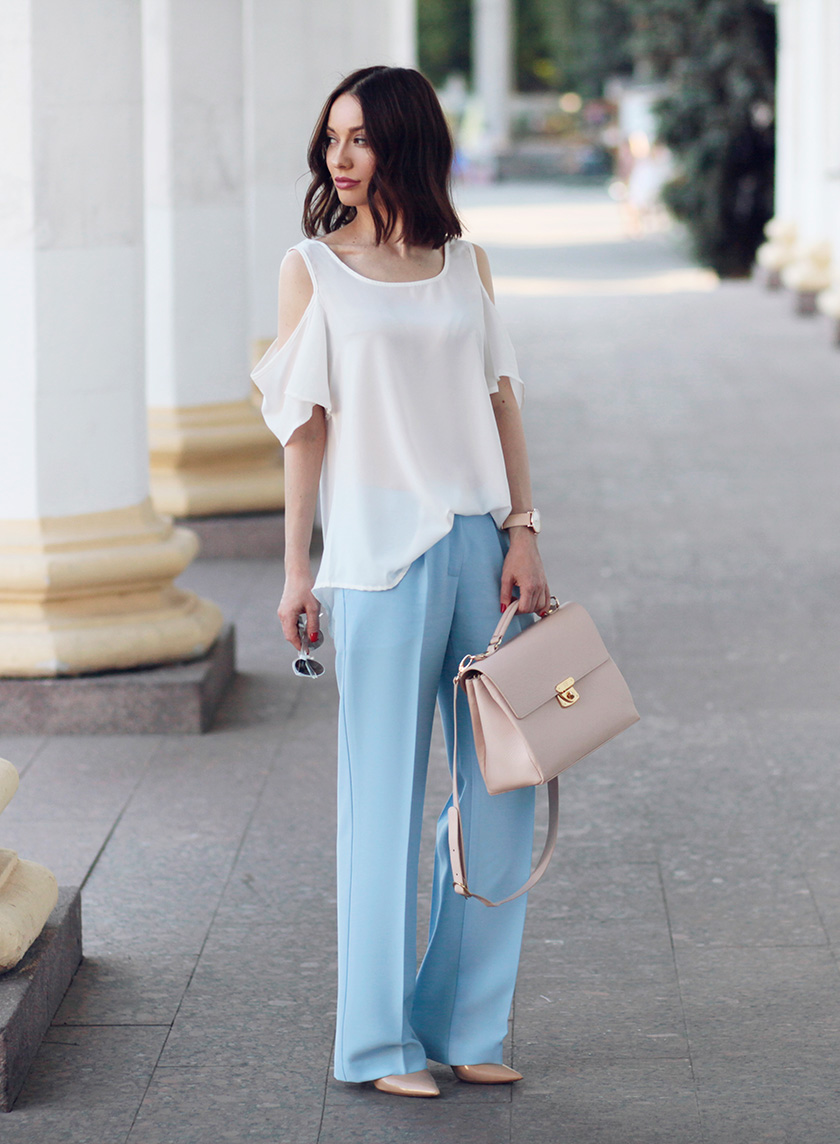 Sonya-Karamazova-wide-leg-pants-cold-shoulder-blouse-fashion-blog