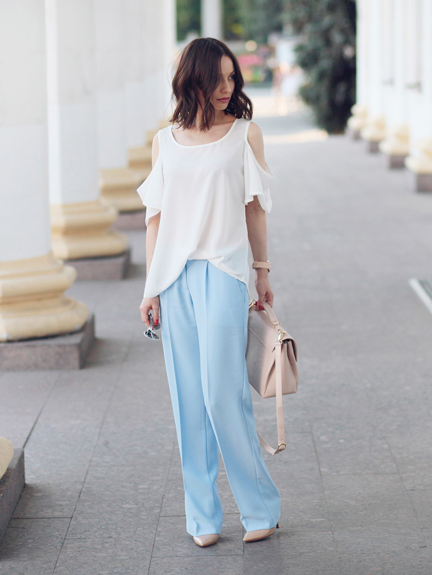 Sonya-Karamazova-wide-leg-pants-cold-shoulder-blouse-fashion-blogger
