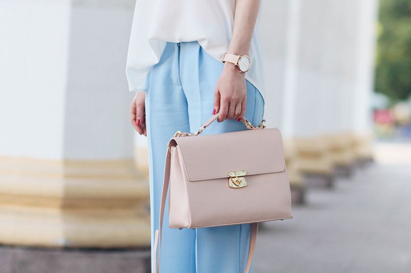 Sonya-Karamazova-wide-leg-pants-cold-shoulder-blouse-pastel-bag