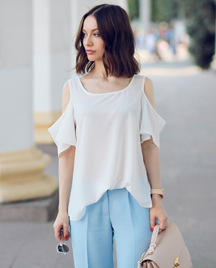 Sonya-Karamazova-wide-leg-pants-cold-shoulder-blouse-street-style-fashion