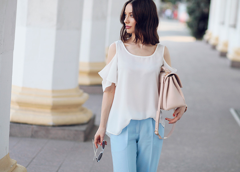 Sonya-Karamazova-wide-leg-pants-cold-shoulder-blouse-summer-outfit-ideas