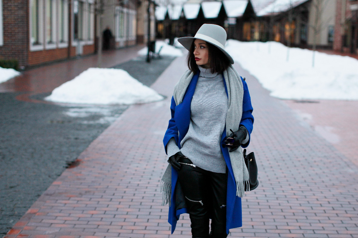 Sonya-Karamazova-blue-coat-leather-pants